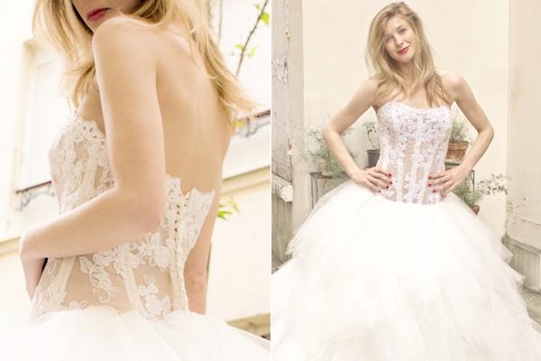 "La stilista Chiara Lodi indossa un abito da sposa ""Anahid Sïnsek"""