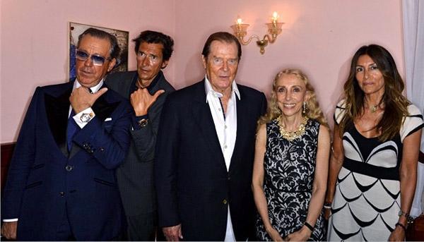 Angelo Galasso;Geoffrey Moore;Roger Moore;Franca Sozzani;Lou Lou Moore