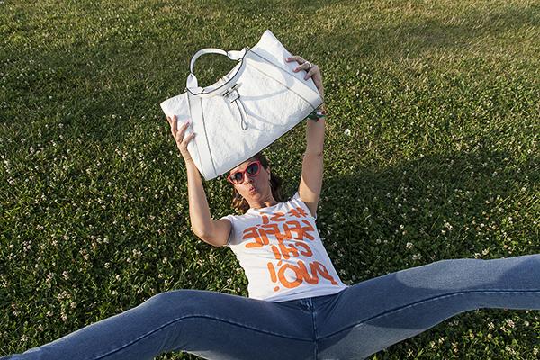 Cristina lodi, borsa gherardini, selfie, t shirt happiness, i migliori fashion blog