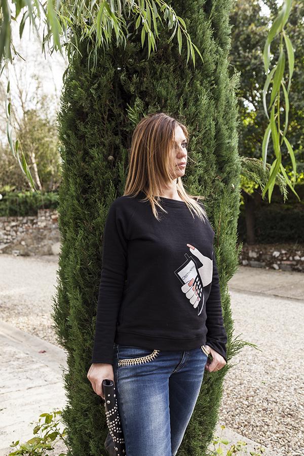 Cristina Lodi, felpa CristinaEffe, Jeans elasticizzati CristinaEffe, 2 fashion sisters