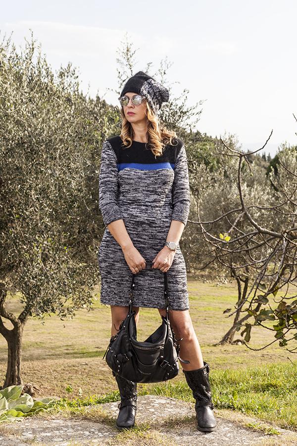 Cristina Lodi, 2 fashion sisters, fashion blogger, abito di lana CristinaEffe, boots Giancarlo Paoli, borsa Pierre Balmain