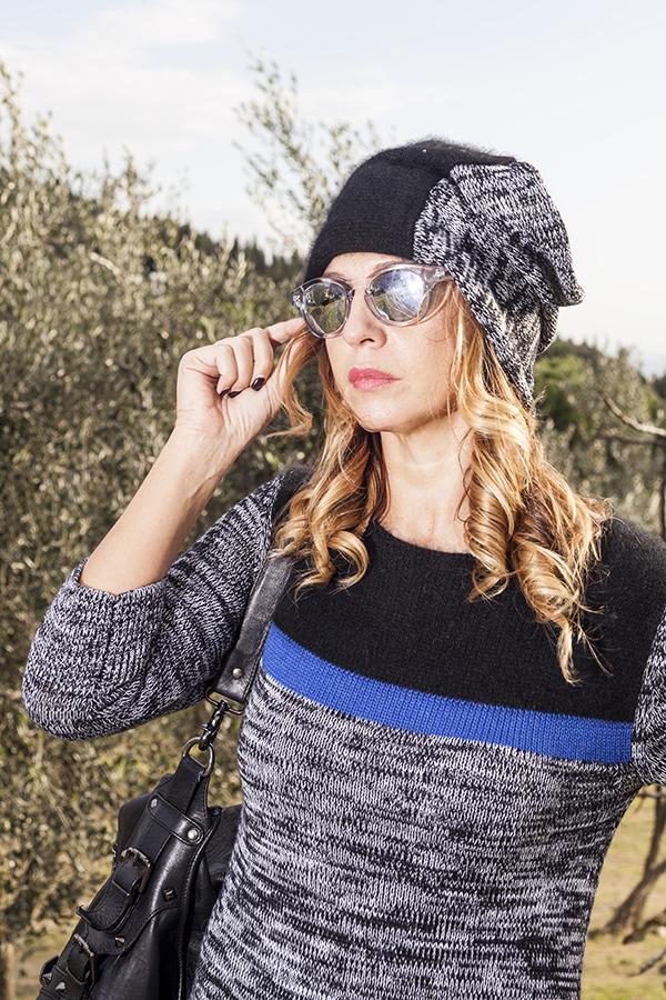 Cristina Lodi, 2 fashion sisters, fashion blogger, abito di lana CristinaEffe, occhiali Essequadro, borsa Pierre Balmain