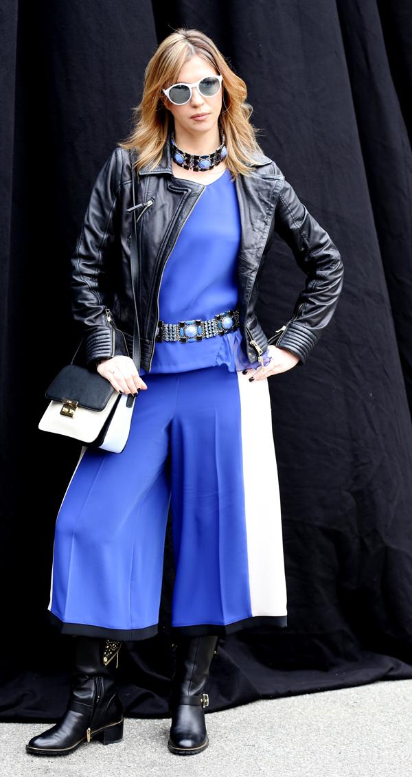 Cristina Lodi, gonnapantalone CristinaEffe, stivali luciano barachini, borsa pomikaki, gioielli miranda kos