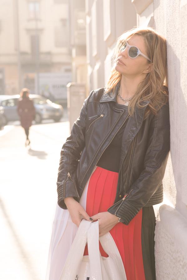 Cristina Lodi,abito glam cristinaeffe, bag pomikaki, occhiali athina lux, giubbotto cristinaeffe