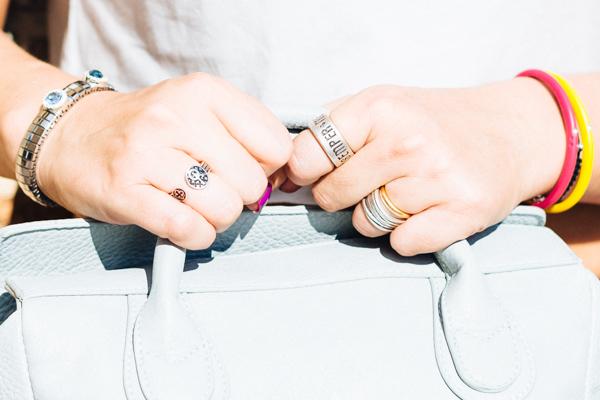 Cristina Lodi, due punti milano, anelli pietro ferrante, bracciale zoppini
