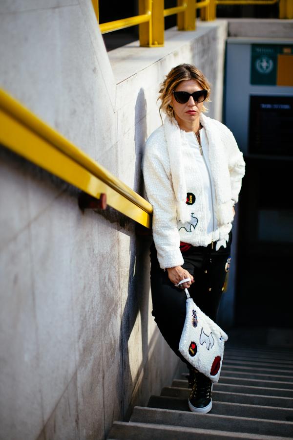 Cristina Lodi, dark lady, mfw, stoktono, pantalone pulp, giacca babylon, borsa cristinaeffe
