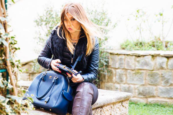Cristina Lodi, borsa Almavida Salce 197, Giubbotto Imperfect, stivali Nr Rapisardi