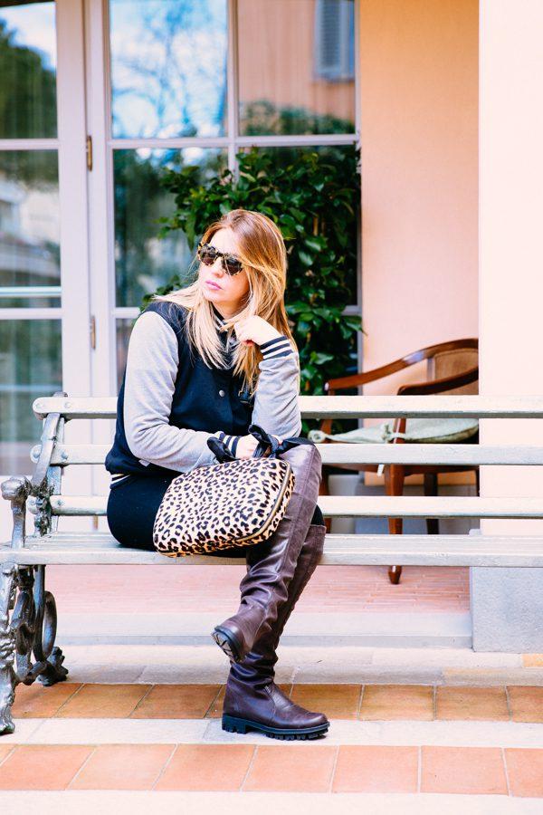 Cristina Lodi, giacca college two play, occhiali athina lux, stivali nr rapisardi, borsa salce 197, ville sull'arno firenze
